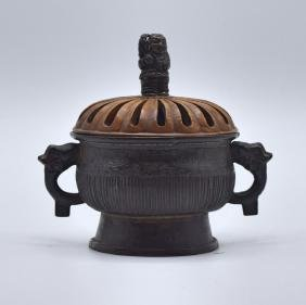 Chinese Bronze Censer, Wood Cover with Jade Finial