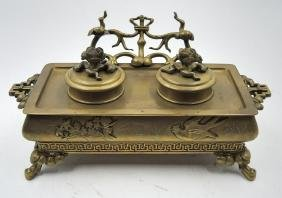 FRENCH GILDED BRONZE INKWELL