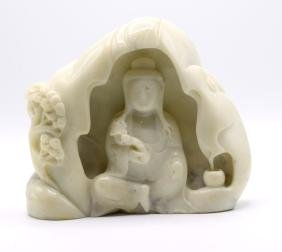 Chinese Carved Jade Guanyin Boulder
