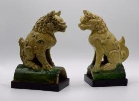 Pair of Chinese Porcelain Lion Roof Tiles