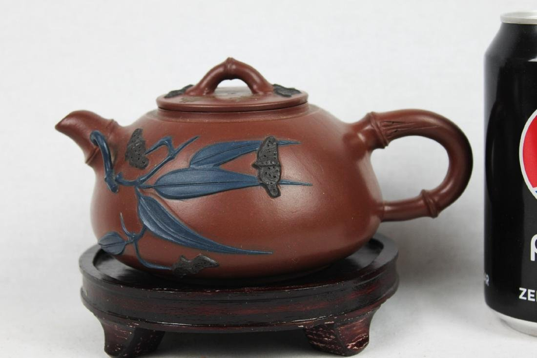 Chinese Yixing Zisha Teapot with Wood Stand
