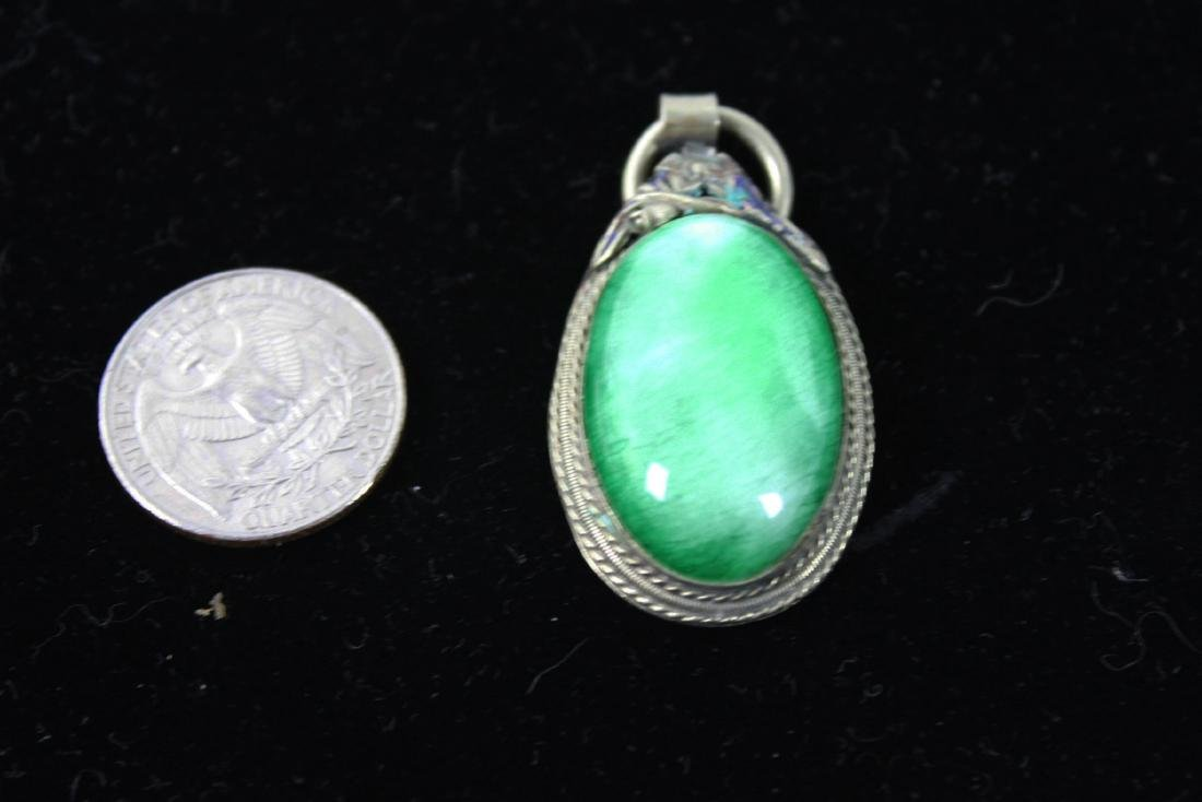 Green Emerald Necklace Pendant with Silver Case