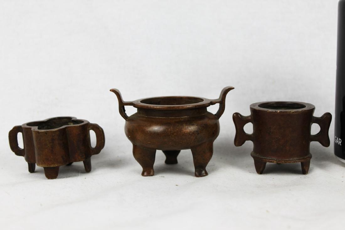 Three Antique Chinese Bronze Incense Burners