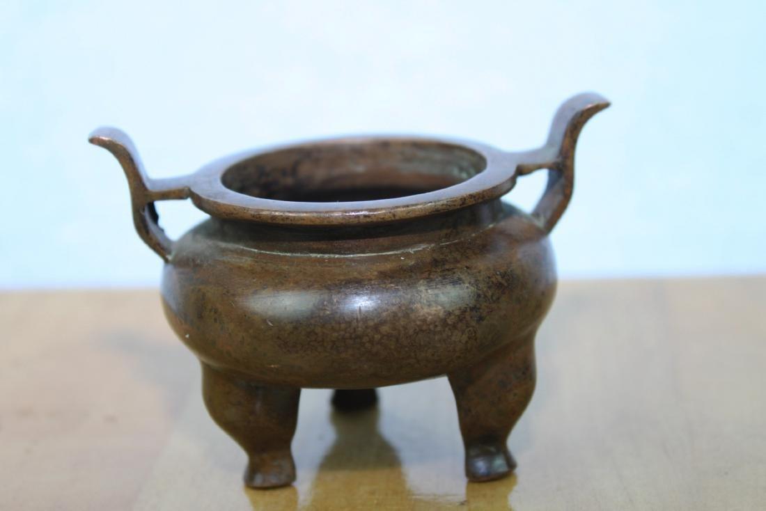 Three Antique Chinese Bronze Incense Burners - 5