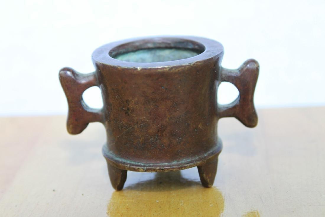 Three Antique Chinese Bronze Incense Burners - 8