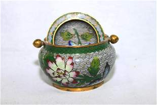 Small Chinese Wucai Cloisonne Bowl with Cover