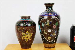 Two Antique Chinese Cloisonne Bronze Vase