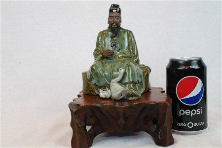 Asian Hand Carved Jun Yao Statue