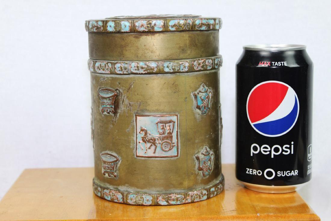 Antique Bronze Jar Hand Carved with Enamel