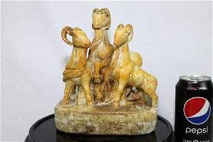 Hand Carved Stone Jade Statue of Three Goats