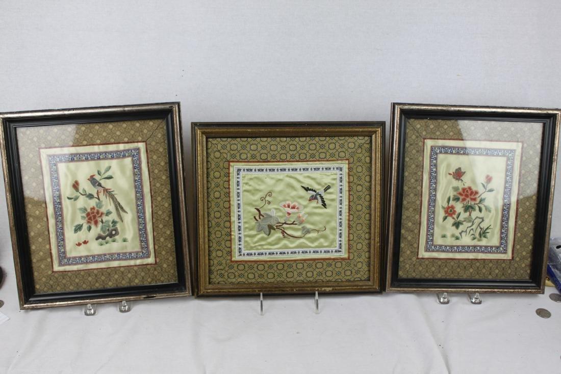 Three Hand Made Chinese Silk Painting