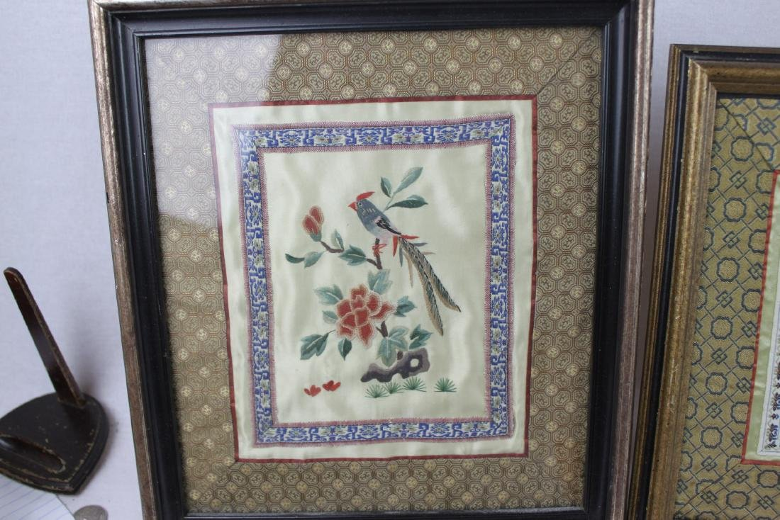 Three Hand Made Chinese Silk Painting - 4
