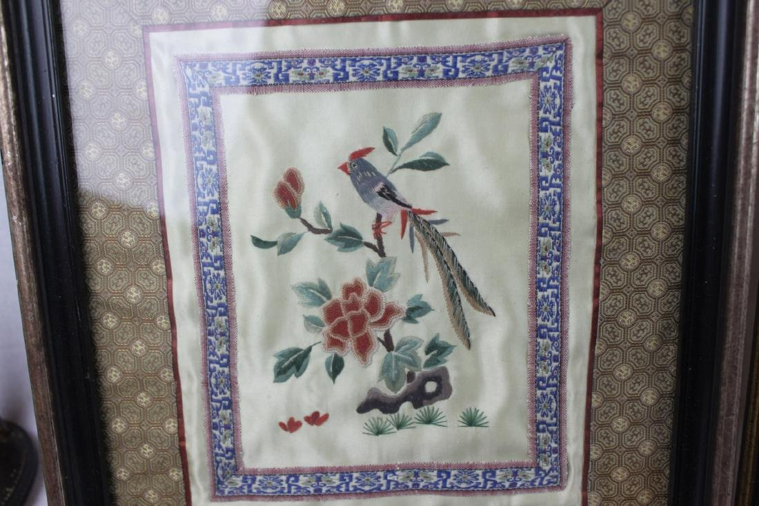 Three Hand Made Chinese Silk Painting - 5