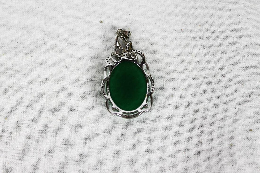 Chinese Green Emerald Jade Necklace Pendant - 3