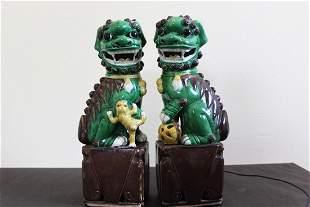 Antique Chinese Porcelain Lion Statues