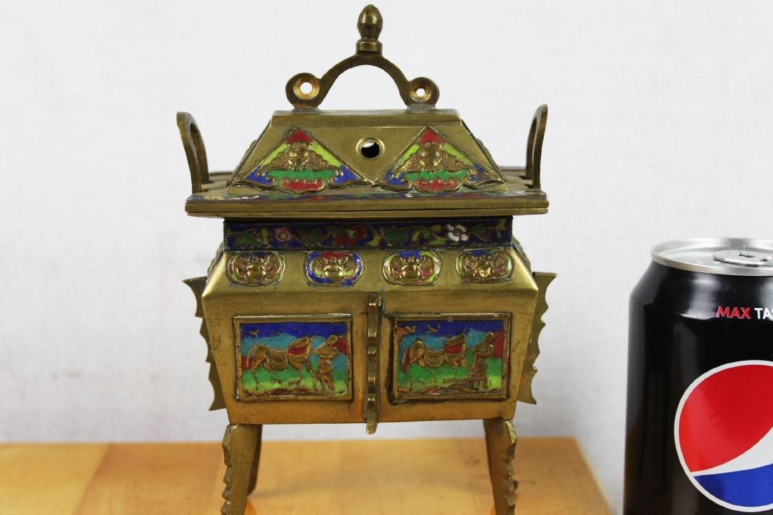 Chinese Cloisonne Bronze Incense Burner