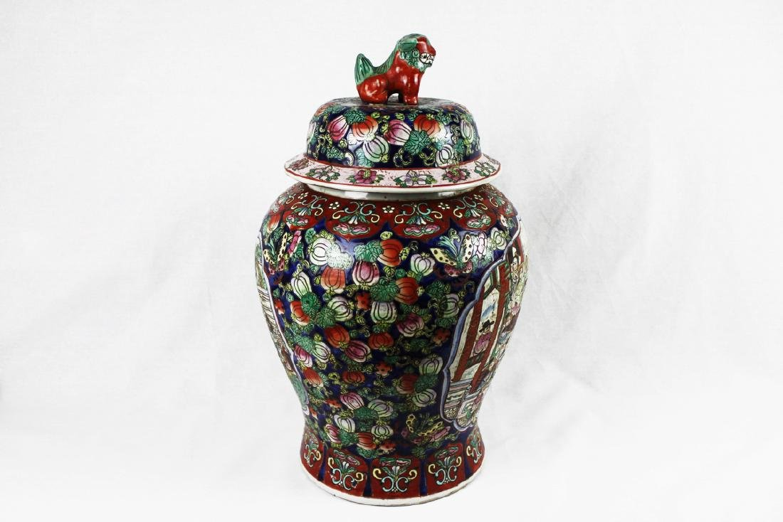 Large Chinese Wucai Porcelain vase with figures