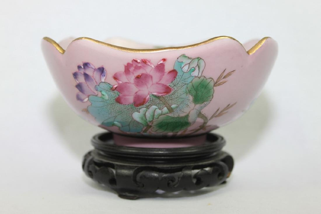 Antique Chinese Pink Porcelain Bowl With Wood Stand