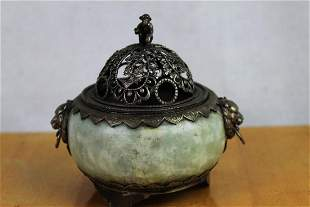 Antique Incense Burner Made w Jade Silver