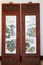 A fine pair of famille rose 'landscape' panels Wang
