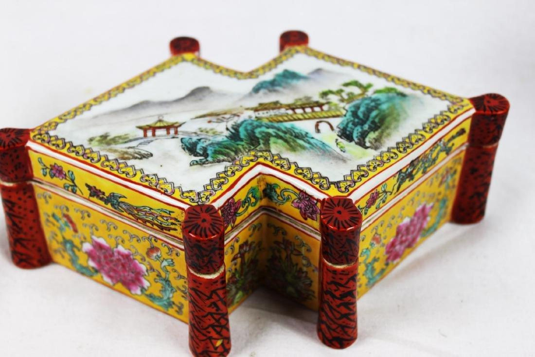 Antique Diamond Shape Porcelain Box - 10