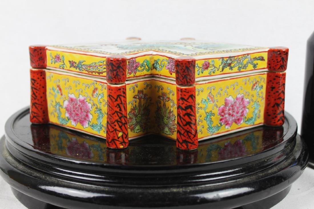 Antique Diamond Shape Porcelain Box