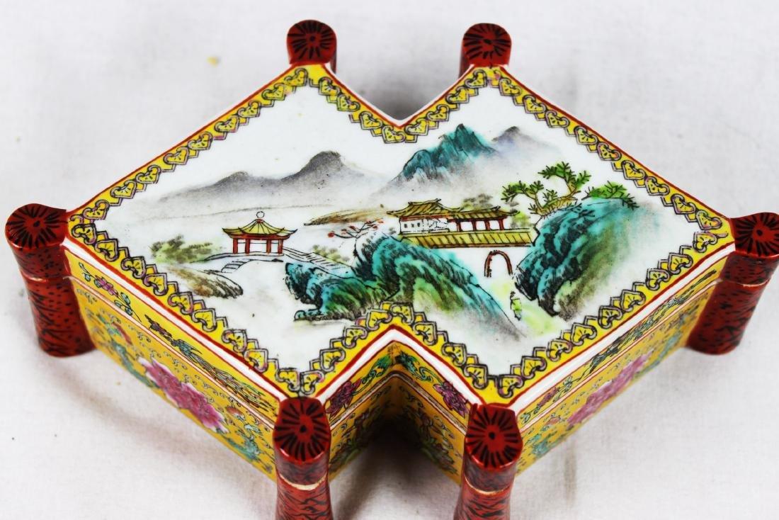 Antique Diamond Shape Porcelain Box - 2