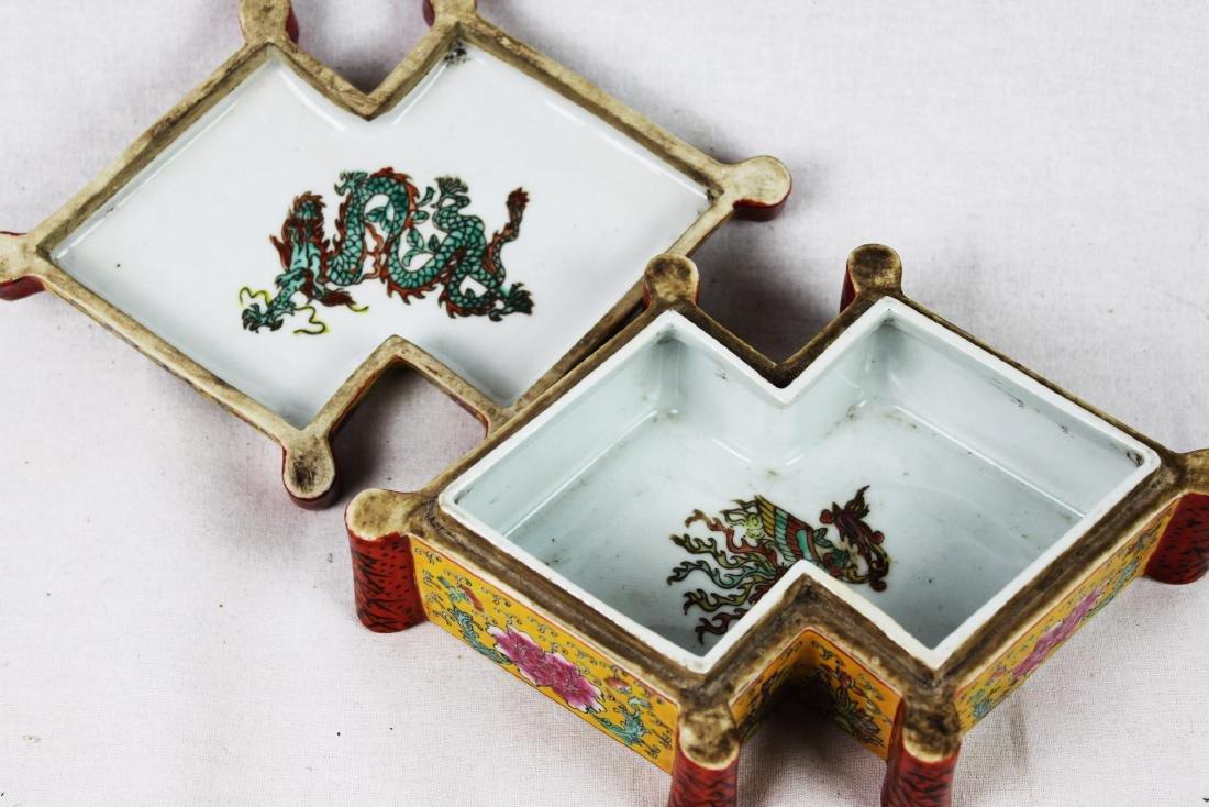Antique Diamond Shape Porcelain Box - 3