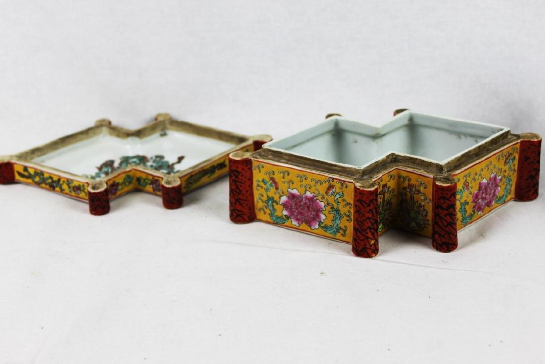 Antique Diamond Shape Porcelain Box - 6