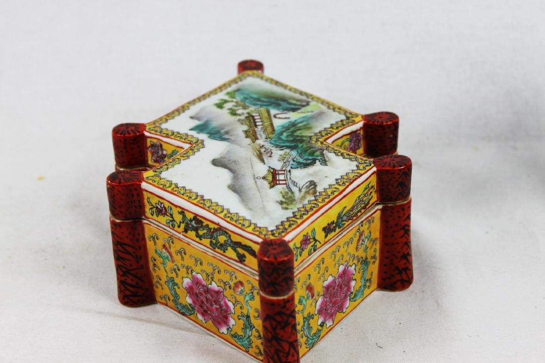 Antique Diamond Shape Porcelain Box - 7
