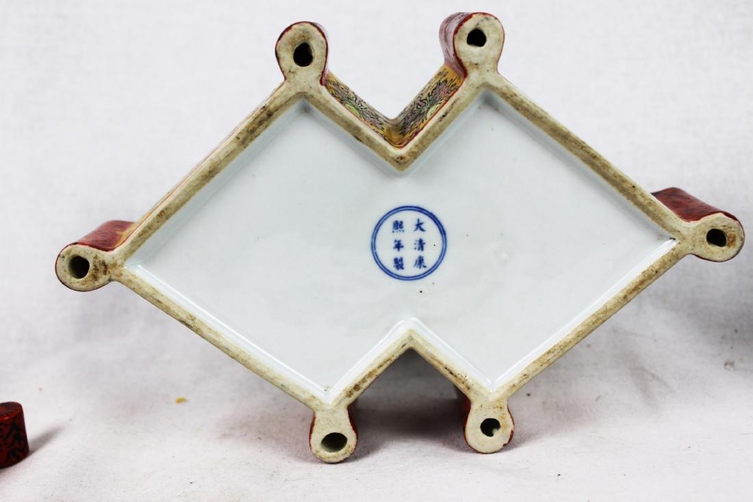 Antique Diamond Shape Porcelain Box - 8