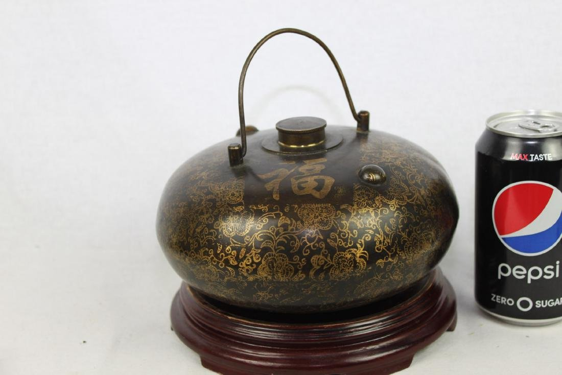 Antique Chinese Bronze Hot Warmer Pot
