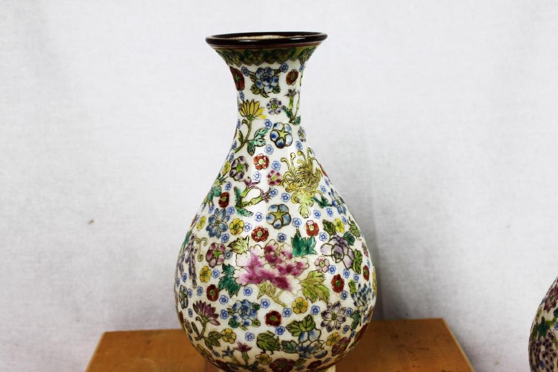 A Pair Famillie Rose Porcelain Vase - 5