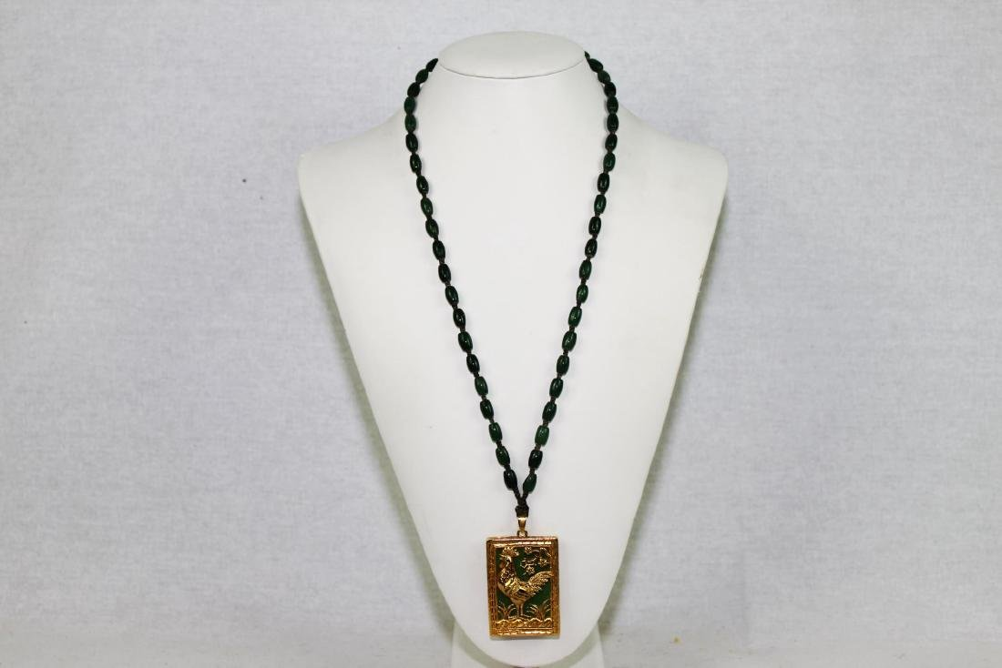 Green Jade Necklace with Gilded Gold