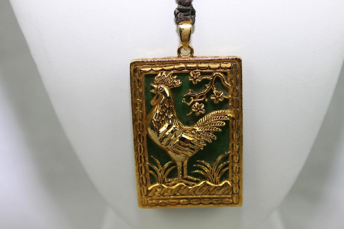 Green Jade Necklace with Gilded Gold - 2
