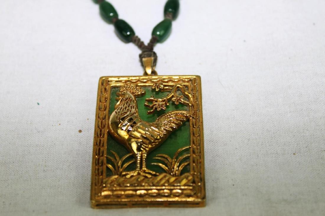Green Jade Necklace with Gilded Gold - 5