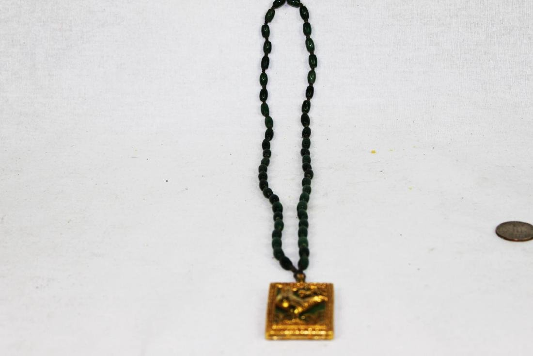 Green Jade Necklace with Gilded Gold - 6