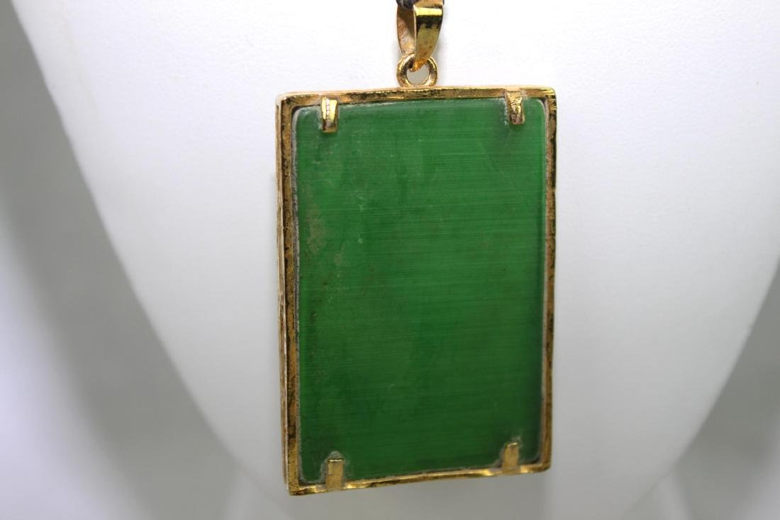 Green Jade Necklace with Gilded Gold - 7