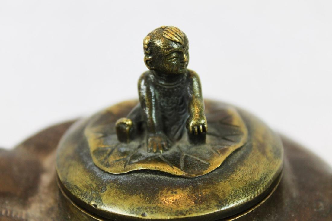 Antique Bronze Little Cowboy Tea-Pot - 2