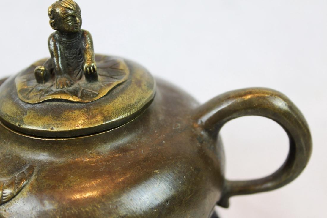 Antique Bronze Little Cowboy Tea-Pot - 4