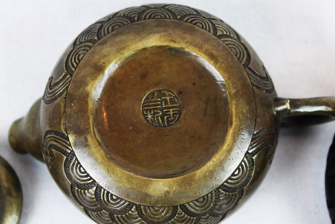 Antique Bronze Little Cowboy Tea-Pot - 7