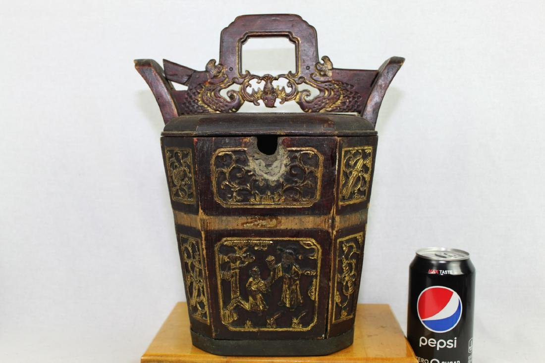 Antique Chinese Wood Rice Bucket