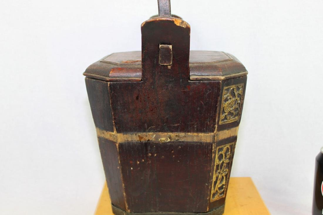 Antique Chinese Wood Rice Bucket - 2