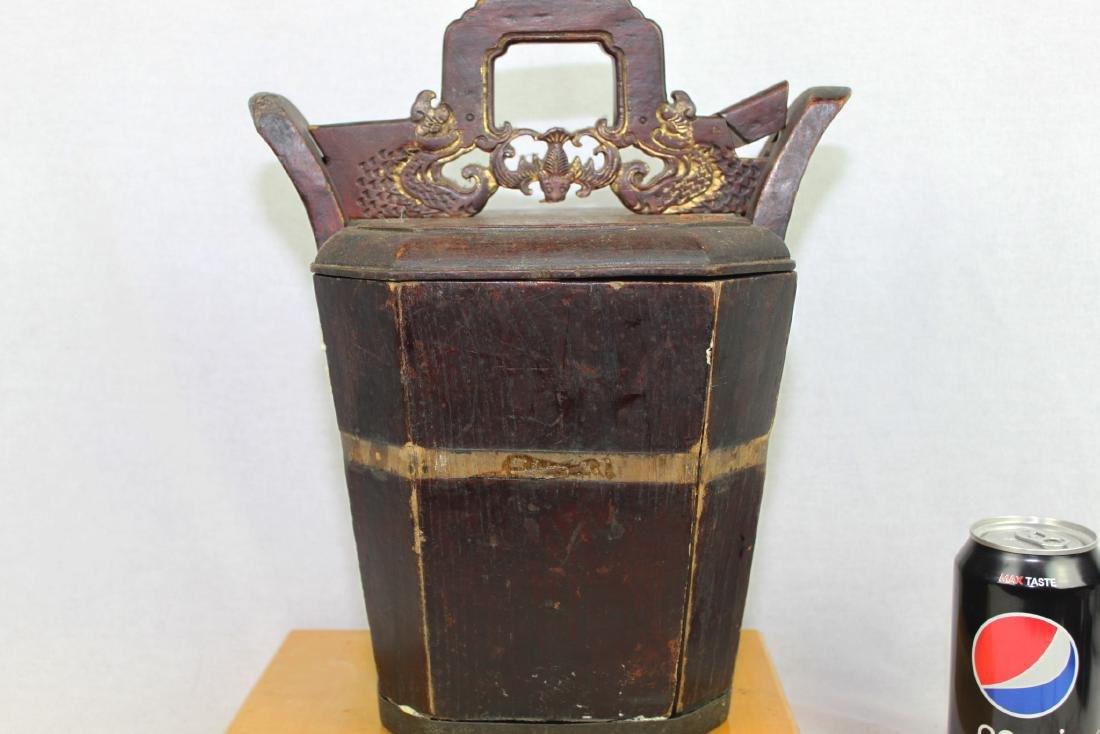Antique Chinese Wood Rice Bucket - 3