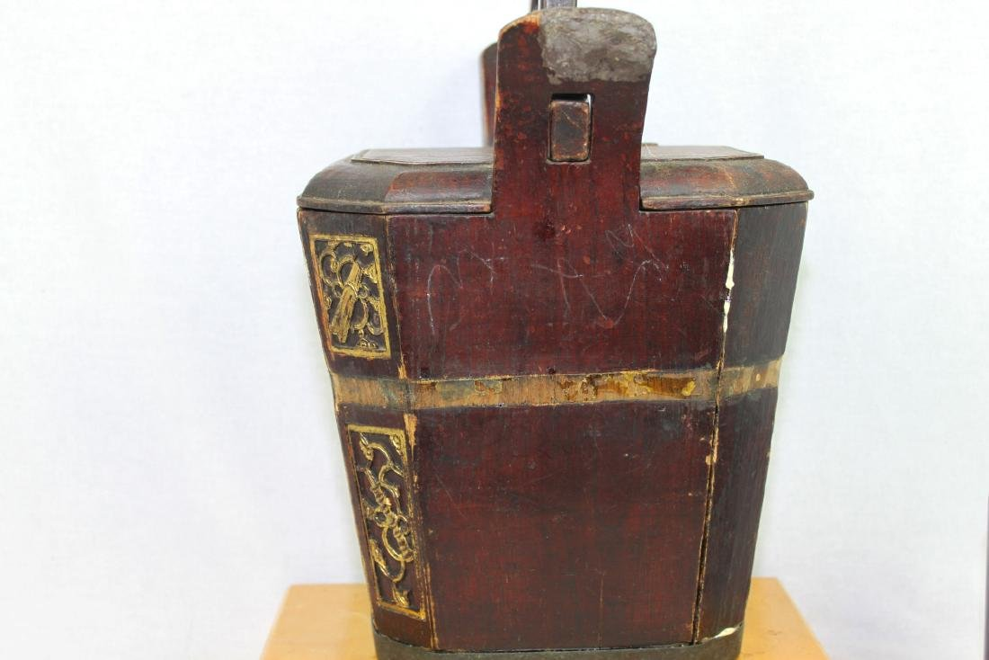 Antique Chinese Wood Rice Bucket - 5