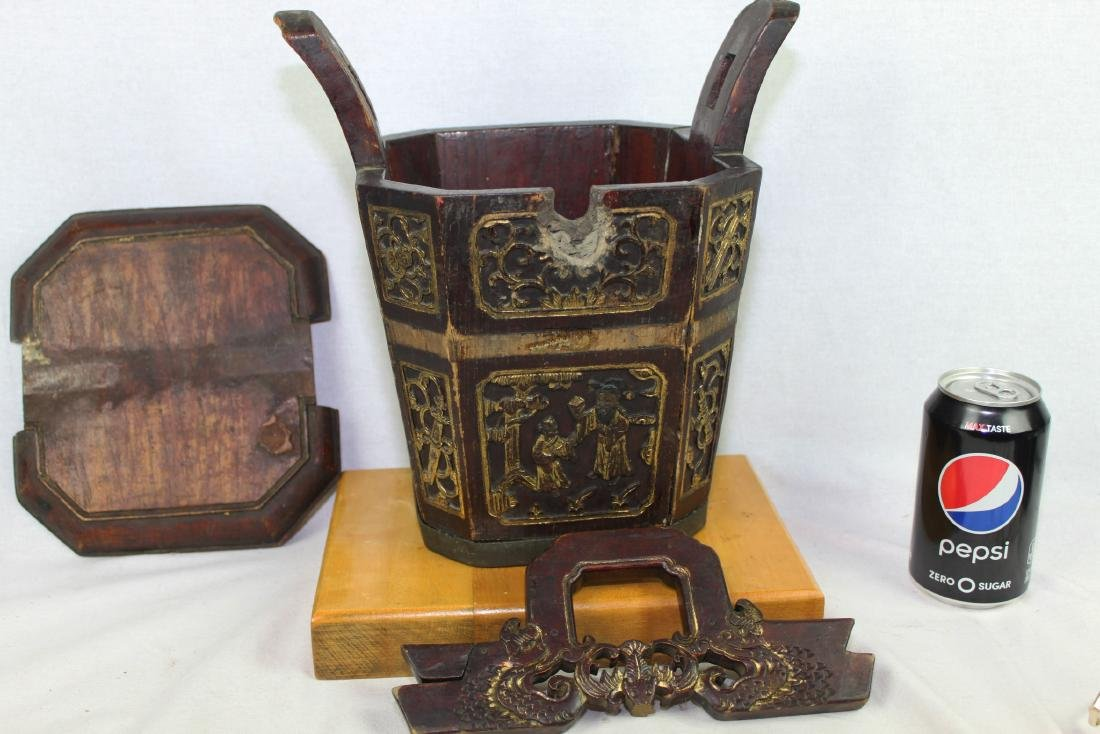 Antique Chinese Wood Rice Bucket - 7