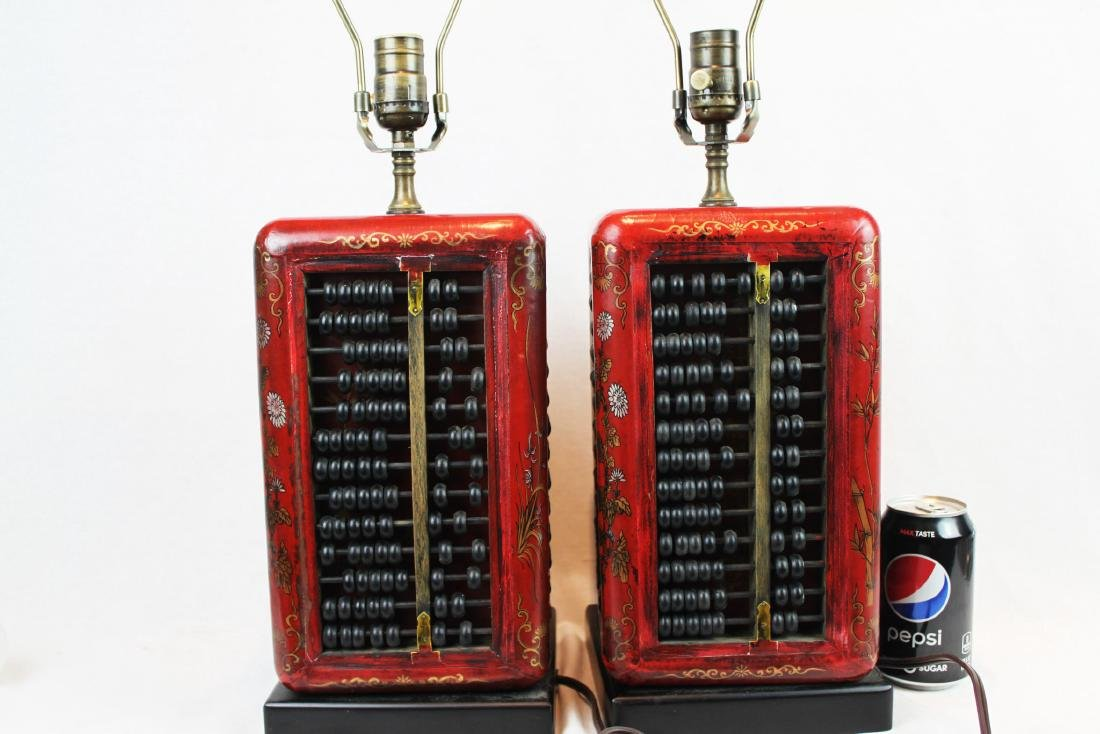A Pair of Antique Abacus Lamp