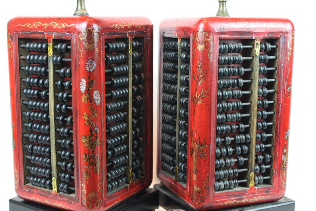 A Pair of Antique Abacus Lamp - 5
