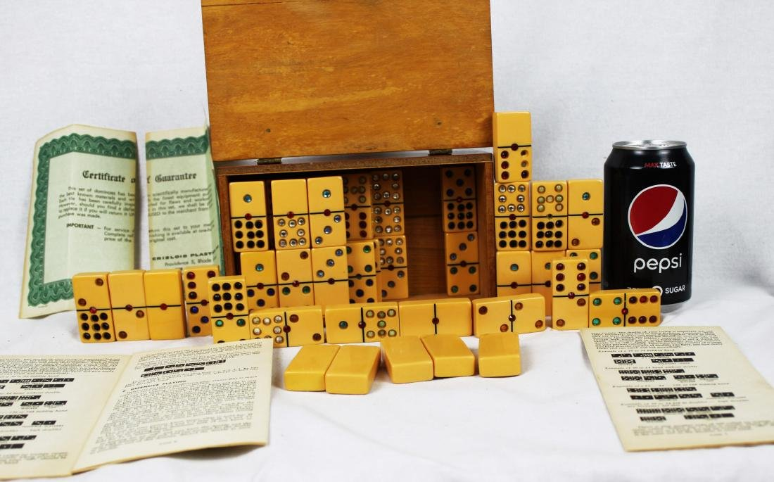 Antique Dominoes in Wood Box