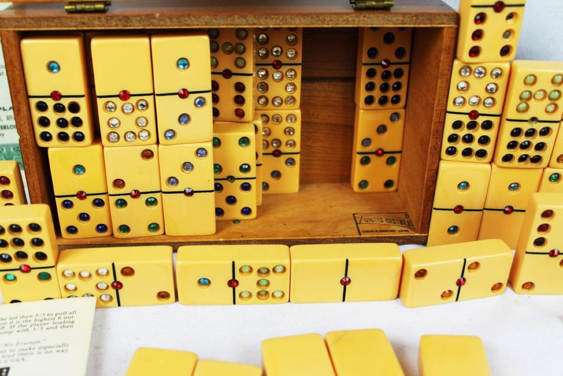 Antique Dominoes in Wood Box - 2